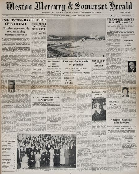 Front Page 7th February 1969 Edition. Picture: WESTON MERCURY