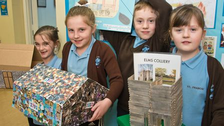 St Francis Primary School pupils with work from their evacuee studies. Picture: MARK ATHERTON