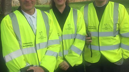 Steven Taplin, Cllr Sarah Codling and Dan Ashworth who will be monitoring the roads in Locking Castl