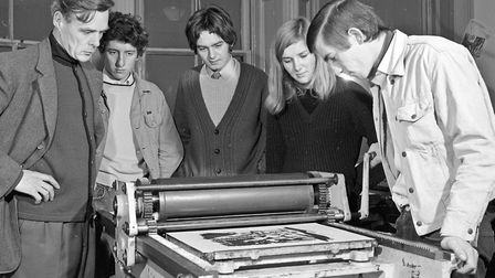 Weston Technical College artists at work. Working a litho press. Picture: WESTON MERCURY