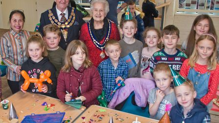 The Mayor's Free Christmas childrens party at Weston Museum. The Mayor and Mayoress with children en