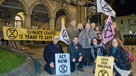 The Extinction Rebellion group outside Weston Town Hall. Picture: MARK ATHERTON