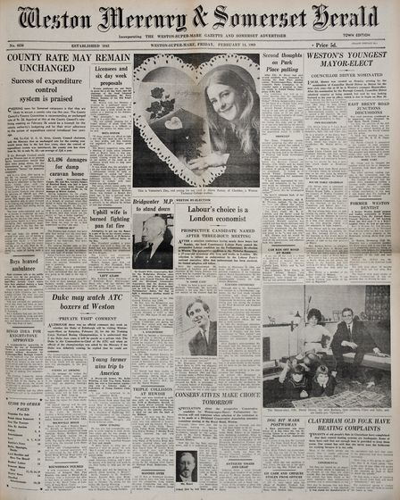 Front Page 14th February 1969 Edition. Picture: WESTON MERCURY