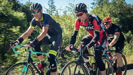 Paul Winspear pictured with fellow RideLondon rider Shane Binding of Worle.