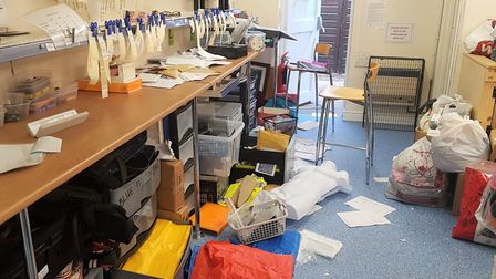 A staff area was ransacked by computers.