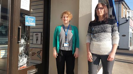 Assistant manager Cat Murphy and manager Diane Poulson, whose Milton Road shop was targeted by burgl