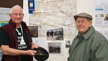 Model railway exhibition at Weston Museum. Railway enthusiast John Montacute (left) with a display a
