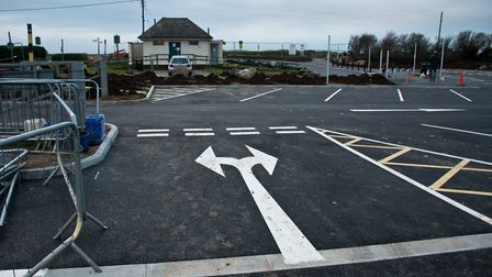 Sand Road Car Park in Sandbay, reopening after refusbishment by North Somerset. Picture: MARK ATH
