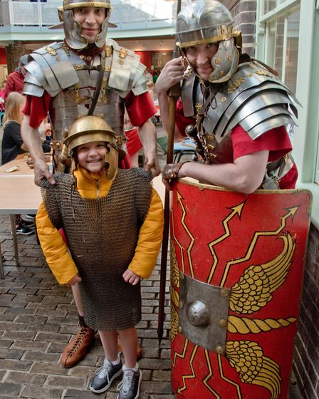 Young recruits with the legionaries of the Ermine Street Guard at Weston Museum History Week. Pic