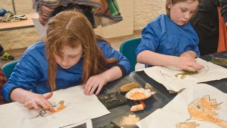 Pre-historic History Day at Weston Museum. Young cave artists at work. Picture: MARK ATHERTON