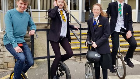 Clevedon School students taking part in a unicycle challenge.