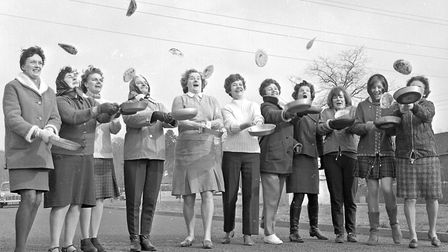 Chilly competitors at the Shrove Tuesday pancake race organised by Cleeve Women's Institute. Pictu