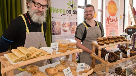 Portishead Vegan Fair. The Happy Daisy Vegan Barkery Chris Beever and Paul Cruise. Picture: MARK A