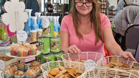 Portishead Vegan Fair. Clare Coleman from Cleanosapiens with her vegan dog treats. Picture: MARK