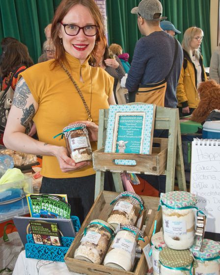Portishead Vegan Fair. Lauren Taylor from the Happy Bunny Bakery selling cake mixes in a jar. Pict