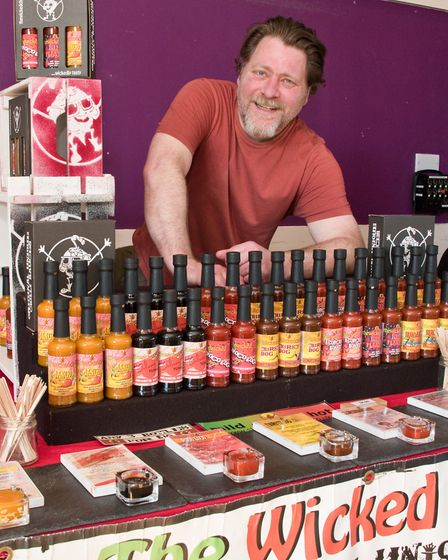 Portishead Vegan Fair. Lee Langridge from Pill-based company The Wicked Chilli. Picture: MARK ATH