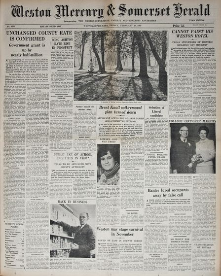Front Page 28th February 1969 Edition. Picture: WESTON MERCURY