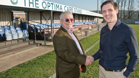 Weston FC's Woodspring Stadium has been sponsored by Optima Care Partnership. Club MD Oli Bliss with