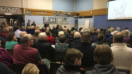 People filled the hall at Fairlands Middle School.Picture: Lily Newton-Browne