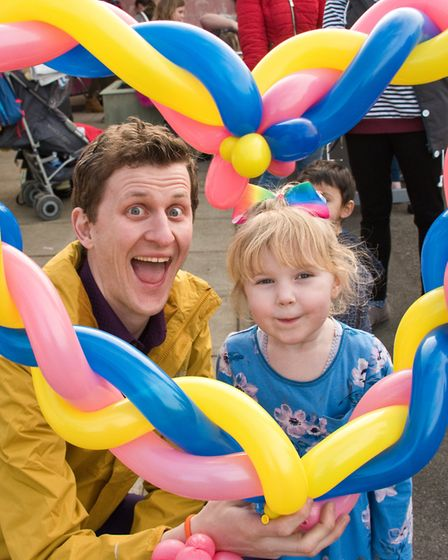 Family fun day at the Castle Batch Community Centre in Worle. Balloon magic with Damien and Ruby.Pic