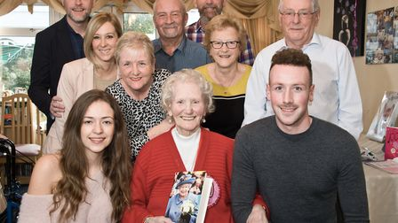 Winnie Thorne celebrating her 100th birthday with family and friends at a party at Neva Manor Care H