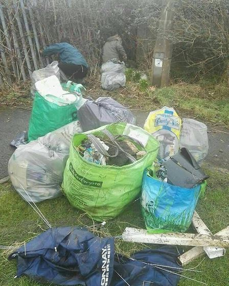The rubbish collected by Emma Harris and Annette Goold. Picture: Emma Harris