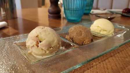 A delicious trio of ice creams at Aztec Hotel and Spa. Picture: Eleanor Young