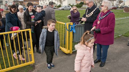 Weston Mayor Cllr Mike Lyall and Mayoress Margaret Lyall opening the new play area. Picture: MARK
