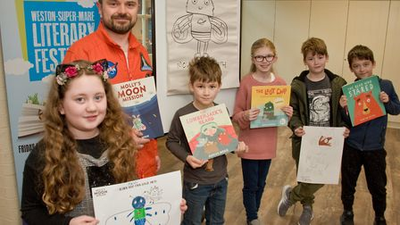 Illustrator Duncan Beedie holding a children's workshop at the Museum during Weston Literary Festiva