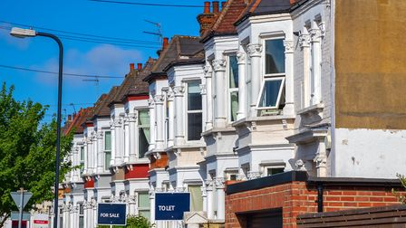 A row of typical British terraced houses