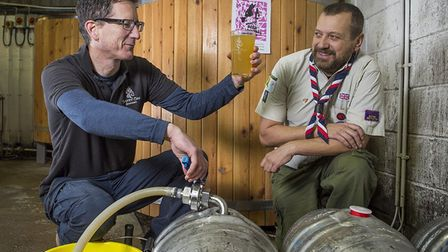 Wrington scout leader Jason Pope learning how to make beer.Picture: Wrington Beer Festival