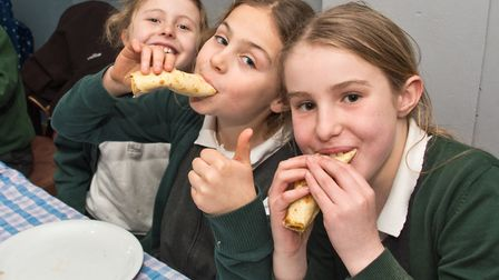 Blagdon pancake day lunch being enjoyed at the village club, in High Street. Picture: MARK ATHERT