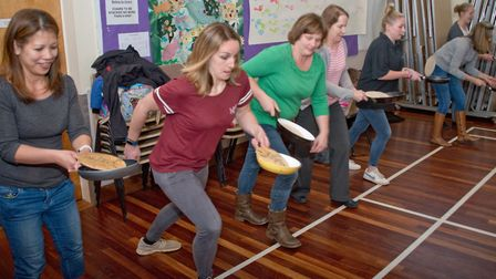 Winscombe pancake races a St James Church hall. Picture: MARK ATHERTON