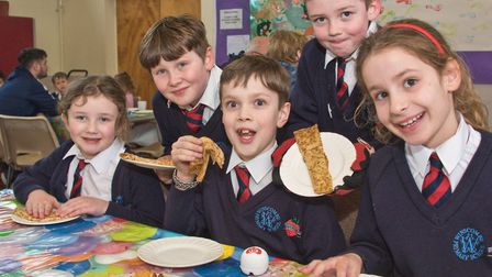 Eating pancakes at Winscombe pancake races a St James Church hall. Picture: MARK ATHERTON