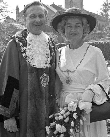 Former Weston Mayor, Cllr Maurice Watts and Muriel Watts, during his mayor making at Grove House.