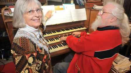 Organiser Jenny Humphreys with organist Eric Smith. Picture: Jeremy Long