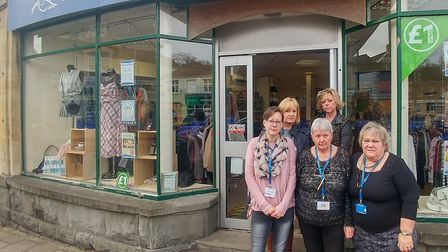 Volunteer staff outisde the Clevedon shop which thieves broke into. Picture: Weston Hospicecare