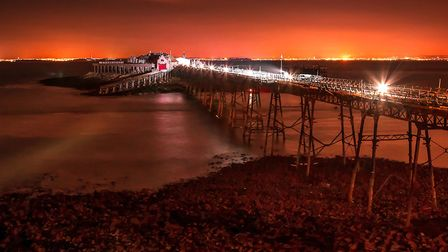 Night time summers evening shot of the Old Weston Pier