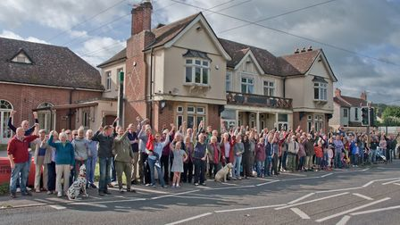 Campaigners gather against the proposed development of the Lord Nelson site at Cleeve.