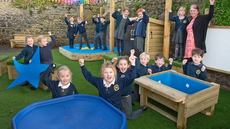 Year one pupils enjoying the school's new playground equipment. Picture: MARK ATHERTON