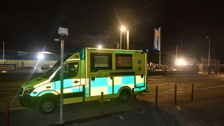 An ambulance at Pontins Brean Sands holiday park. Picture: Ben Birchall/PA Wire
