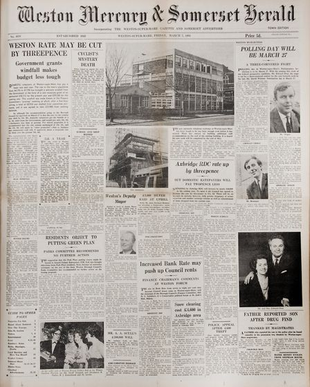 Front Page 7th March 1969 Editio. Picture: WESTON MERCURY