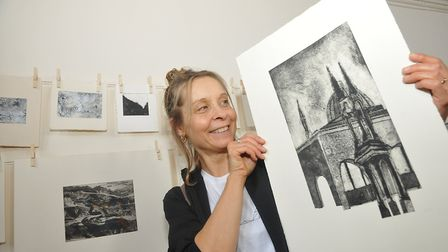 Liz Bath with her etchings. Picture: Jeremy Long