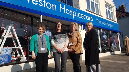 Weston Hospicecare's Milton Road shop assistant manager Cat Murphy, manager Diane Poulson, area mana
