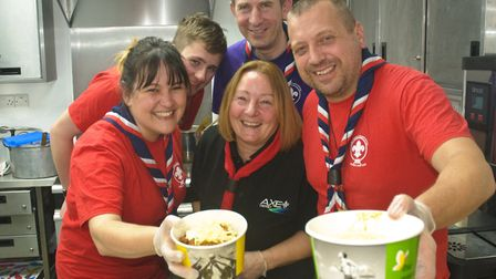 Burrington and Wrington scouts serving up food at Wrington Beer Festival.Picture: Mark Atherton