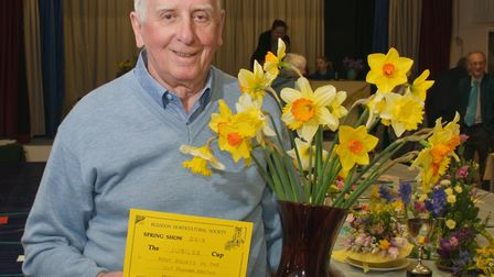 Bleadon Horticultural Society Spring Show, Peter Glover who won most points in the cut flower classe