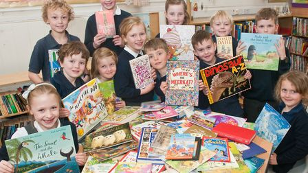 Wrington Primary School pupils receiving 100 books for their school. Picture: MARK ATHERTON