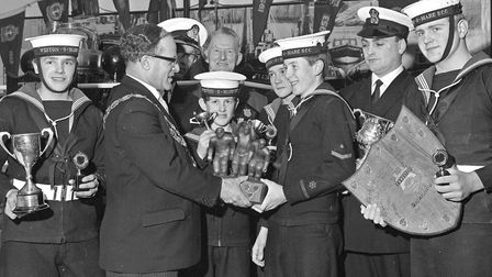 Weston Sea Cadets annual awards. The Mayor (Cllr. P.F. Hess) presenting the Hill Memorial Trophy to