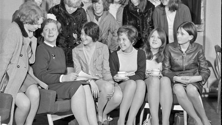 The Matron of Weston-super-Mare's General Hospital talking to some of the girls who attended a one d