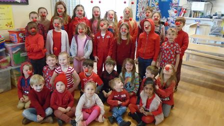 Pupils from Ashbrooke House School dressed up for Red Nose Day.
